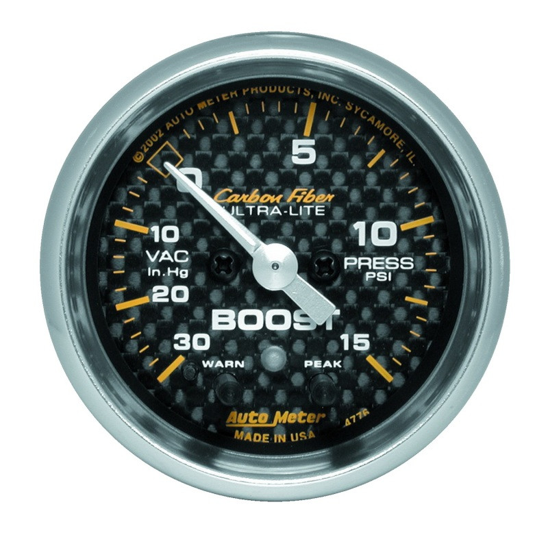 Autometer Carbon Fiber 52mm 15 PSI Electronic Boost Gauge