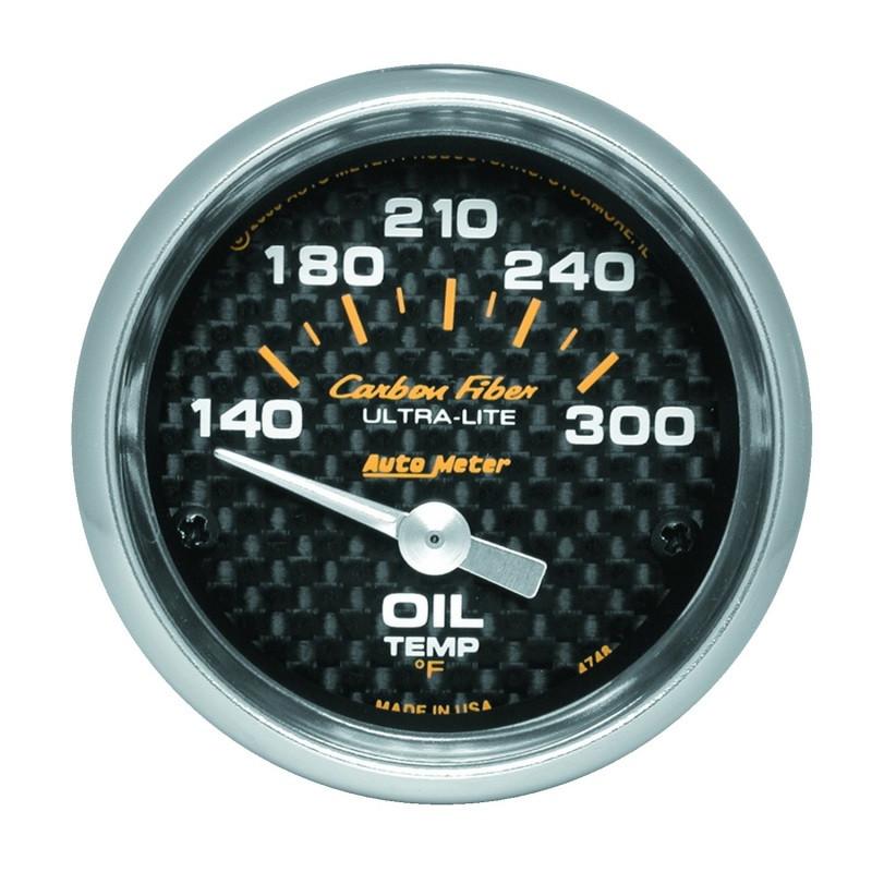 Autometer Carbon Fiber 52mm 140-300 Deg F Electronic Oil Temperature Gauge
