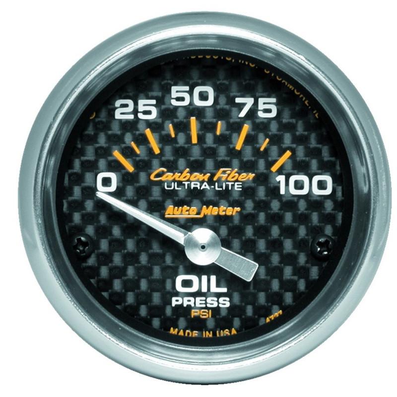 Autometer Carbon Fiber 52mm 100 PSI Electronic Oil Pressure Gauge