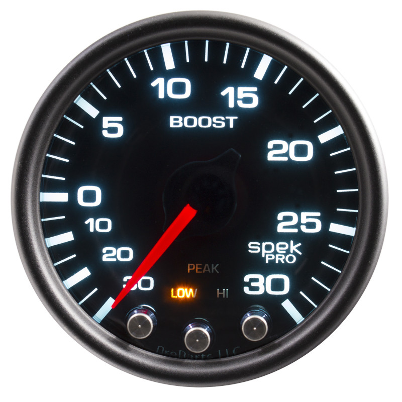Autometer Spek-Pro Gauge Vac/Boost 2 1/16in 30Inhg-30psi Stepper Motor W/Peak & Warn - Black/Smoke/Black