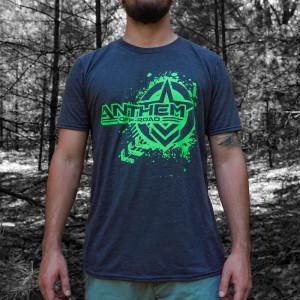 Splatter Logo Heather Grey & Green Shirt