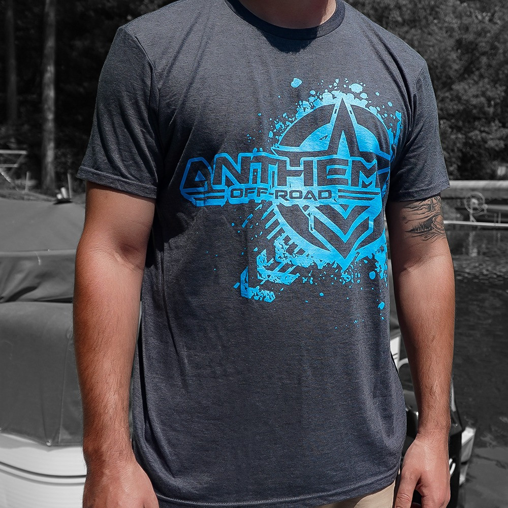 Splatter Logo Heather Grey & Blue Shirt