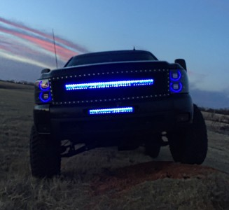 20 inch and 40 inch LED Light Bar with bumper and grille brackets for 2007-2013 Chevy Silverado 1500 2500