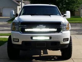 40 inch LED Light Bar behind the grille bracket (BRACKET ONLY) for 2007-2013 Chevrolet Silverado 1500 or 2500 HD
