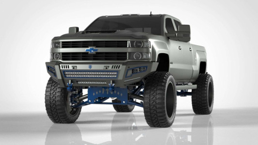 Road Armor iDentity Front Bumper (15-19 Chevy 2500/3500) | Raw Steel/Shackles/Standard End Pods/Double Cube Light Pods/Accent Lights/Beauty Ring