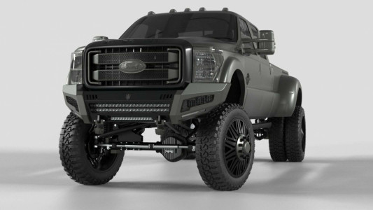 Road Armor iDentity Front Bumper (11-16 Ford F-250/F-350)   Raw Steel/Shackles/Wide End Pods/Triple Cube Light Pods/Accent Lights/Mesh Hyve Pattern