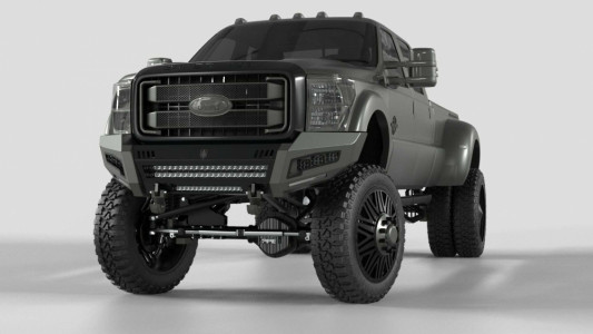 Road Armor iDentity Front Bumper (11-16 Ford F-250/F-350) | Raw Steel/Shackles/Wide End Pods/Triple Cube Light Pods/Accent Lights/Beauty Ring