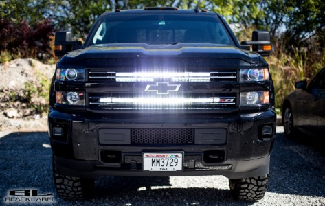 40 and 30 inch Black Label Lighting LED Light Bar & behind grille bracket 2014-2015 Chevrolet Silverado 1500 and 2014-2017 Chevrolet Silverado 2500