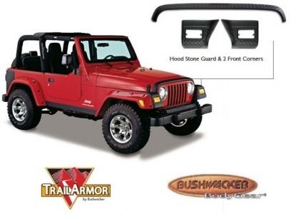 Bushwacker Jeep Trail Armor Hood Stone Guard - Set - OE Matte Black