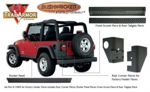 Bushwacker Jeep Trail Armor Six Piece - Set - OE Matte Black