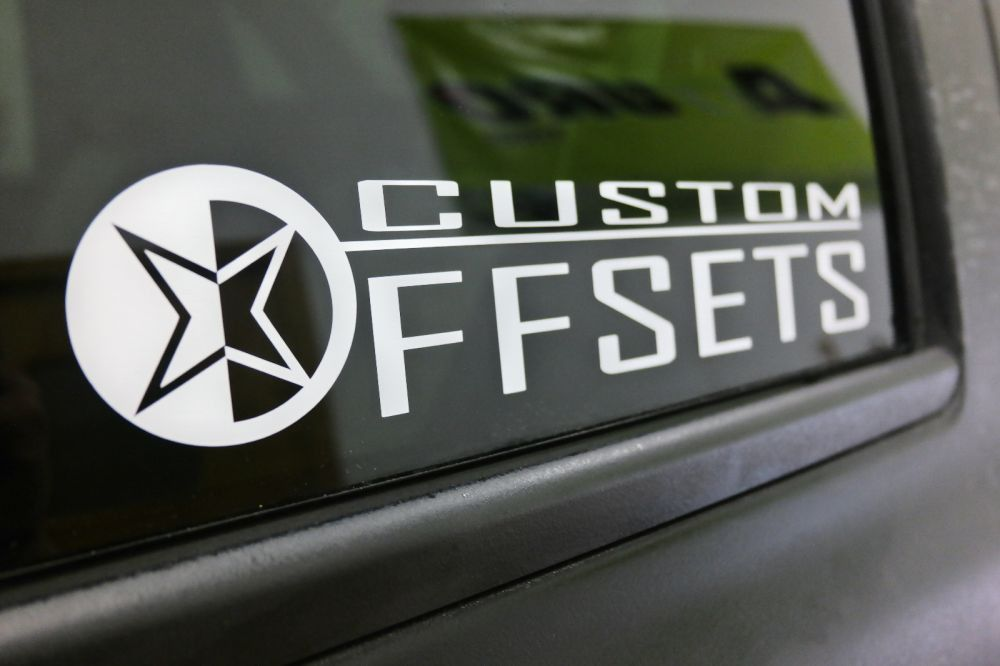 Add Gear or White Decals? Add PAIR of 12 inch Stacked Custom Offsets Decals White