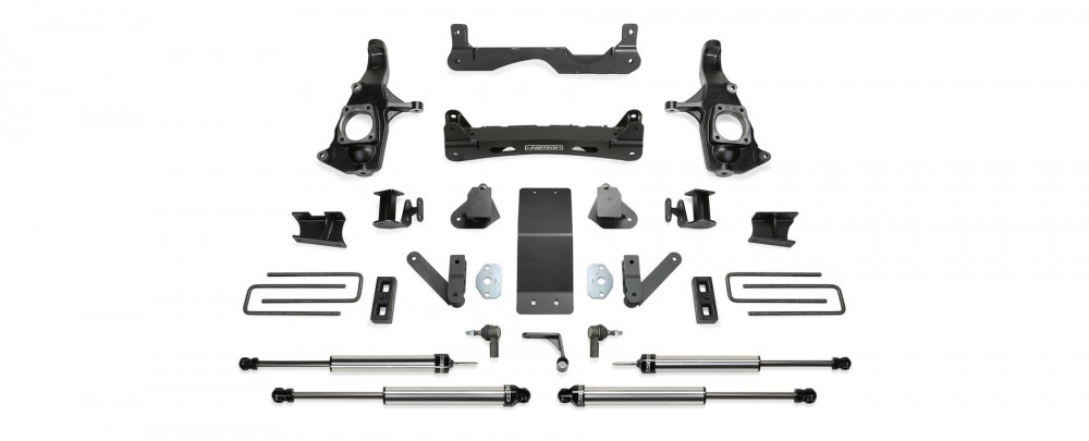 "Fabtech 4"" Crossmember System w/   Dirt Logic 2.25 Shocks - 2011-2019 GM C/K2500HD 2WD/4WD"