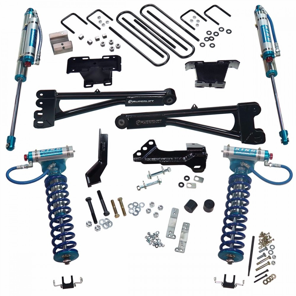 """SUPERLIFT 4"""" King Edition Radius Arm Lift Kit w/  King Front Coilovers And King Reservoir Rear Shocks"""