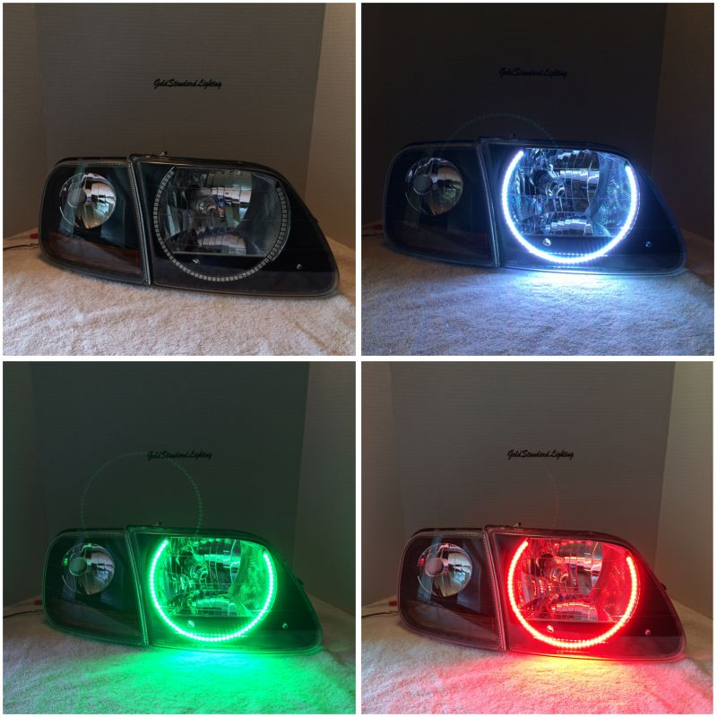 (Headlights) 97-2003 f150 (NEW HEADLIGHT ASSEMBLY) + halo install package