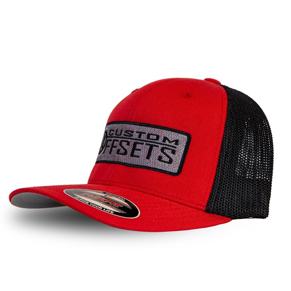 Fitted Custom Offsets Trucker Hat Red Black Custom Offsets 883619c01b9
