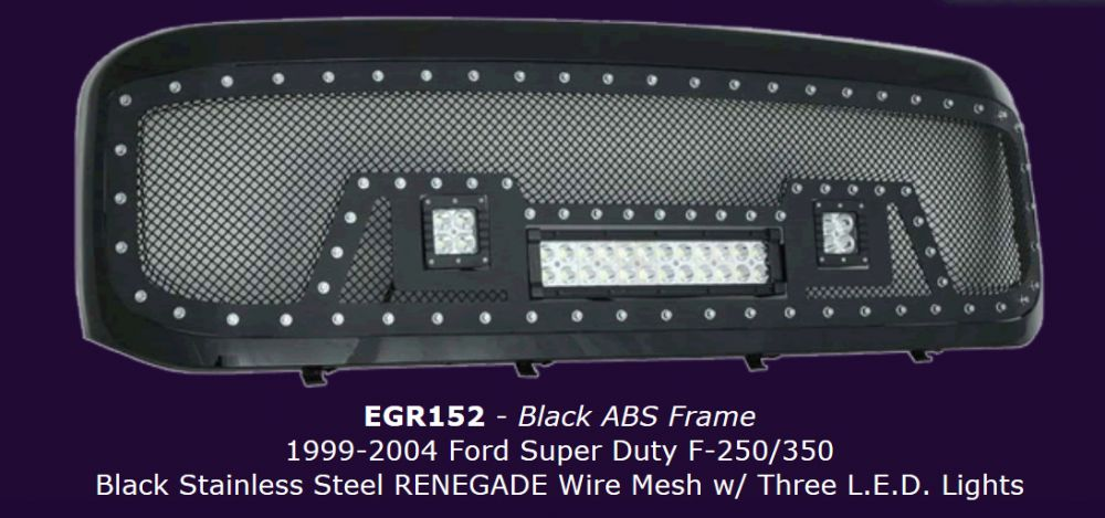 Renegade Black Mesh Grille With Light Bar For F Series Ford