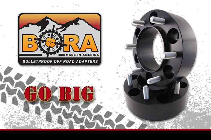 """Aluminum 1.75"""" BORA Spacers (pair-2) 5 or 6 lug All makes and models"""