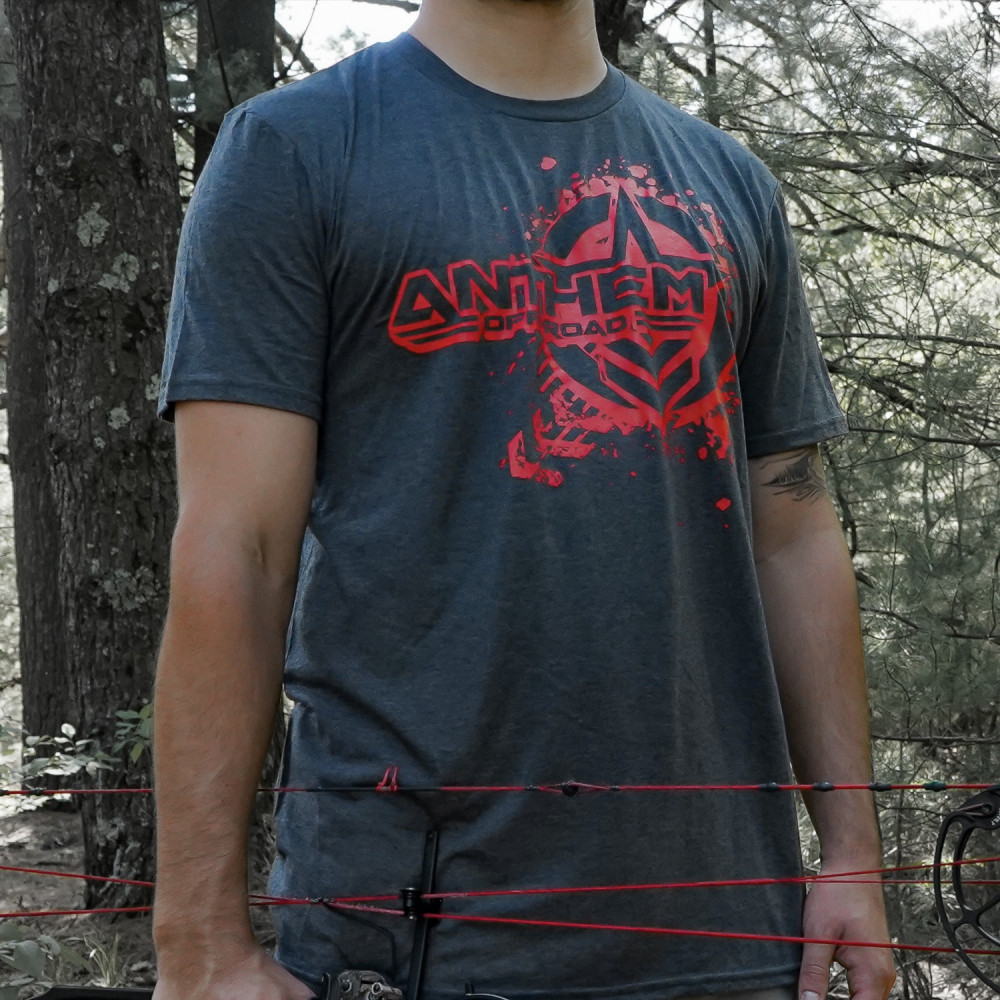 Splatter Logo Heather Grey & Red Shirt