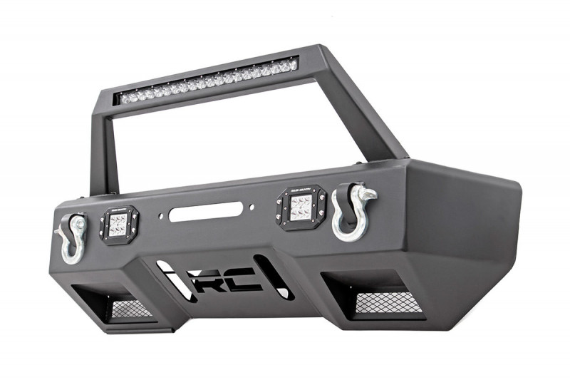 Rough Country Jeep Front Stubby LED Winch Bumper w/Hoop (JK, JL, Gladiator JT)