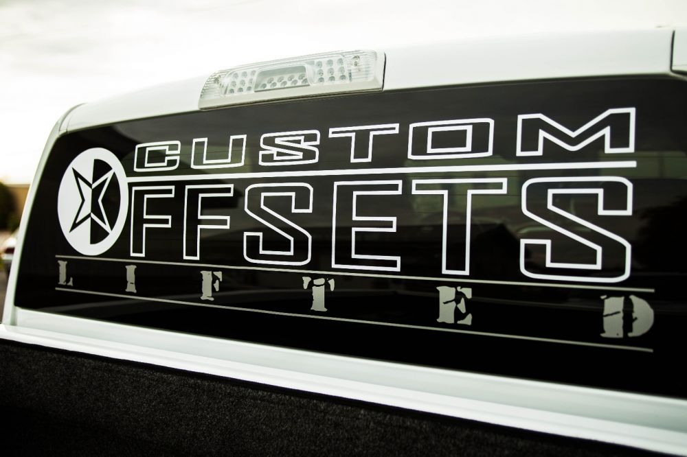Custom Offsets Lifted Rear Window Decal - Custom rear window decals for cars