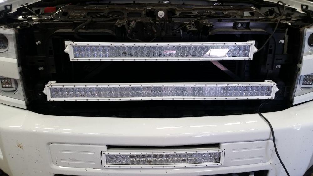40 Inch Led Light Bar Behind Grille Bracket 2015 Chevrolet Silverado 2500 Hd