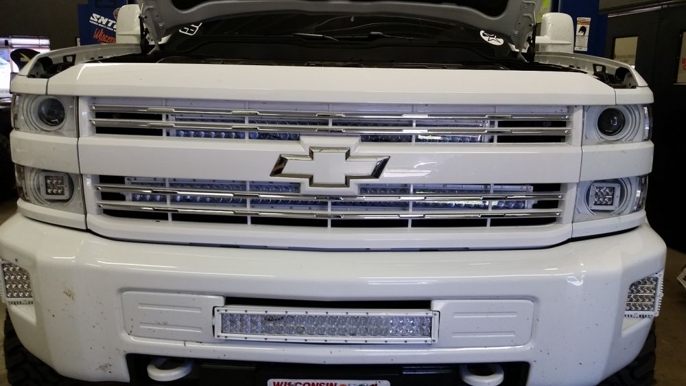 ... 40 Inch LED Light Bar U0026 Behind Grille Bracket 2014 2015 Chevrolet  Silverado ...