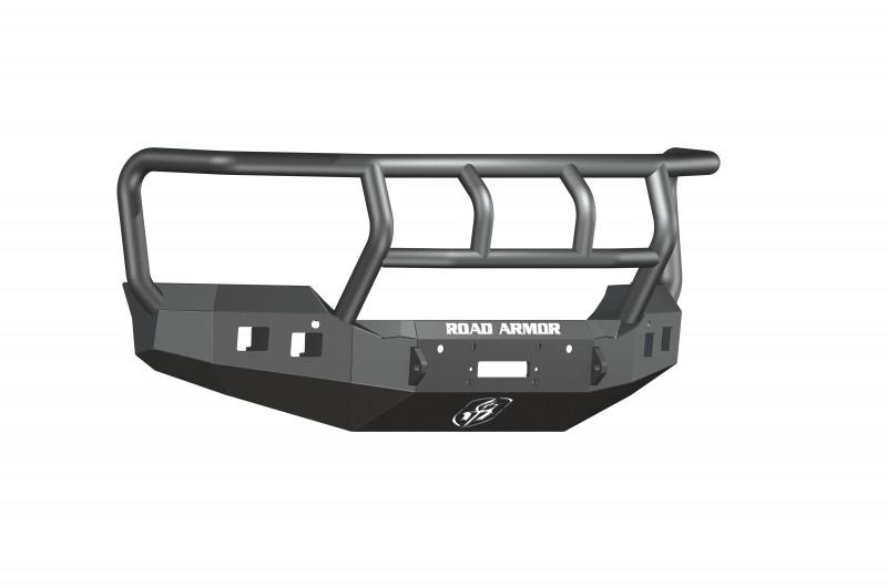 Road Armor Stealth Front Winch Bumper w/ Titan II Guard - Texture Black | WARN M12000/Smittybilt XRC (15-19 GMC 2500/3500)