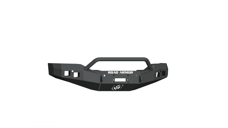 Road Armor Stealth Front Winch Bumper w/ Pre-Runner Guard - Texture Black   WARN M12000/Smittybilt XRC (16-18 GMC 1500)