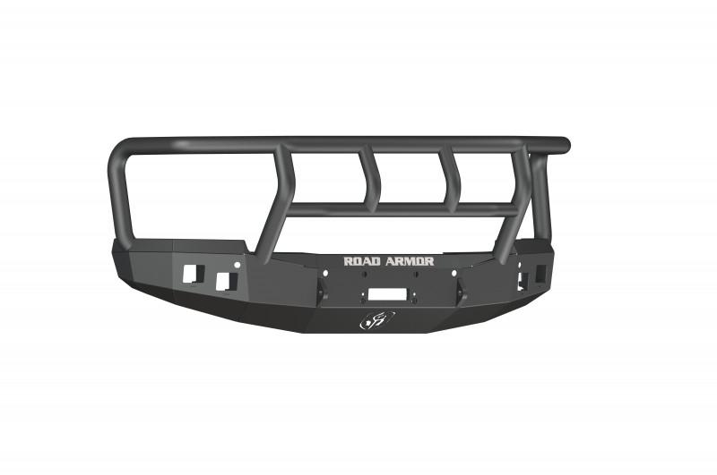 Road Armor Stealth Front Winch Bumper w/ Titan II Guard - Texture Black   WARN VR12000 (15-19 Chevy 2500/3500)