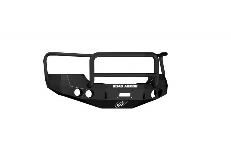 Road Armor Stealth Front Winch Bumper w/ Lonestar Guard - Texture Black | WARN M12000/Smittybilt XRC (08-10 GMC 2500/3500)