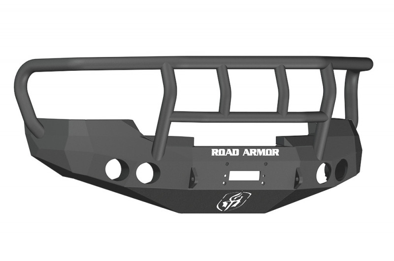 Road Armor Stealth Front Winch Bumper w/ Titan II Guard - Texture Black | WARN M12000/Smittybilt XRC (08-13 GMC 1500)