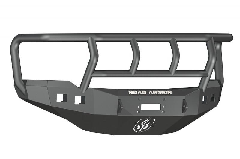 Road Armor Stealth Front Winch Bumper w/ Titan II Guard - Texture Black | WARN M12000/Smittybilt XRC (11-14 Chevy 2500/3500)