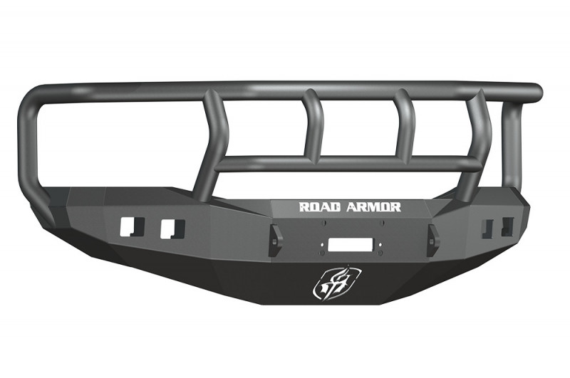 Road Armor Stealth Front Winch Bumper w/ Titan II Guard - Texture Black | WARN M12000/Smittybilt XRC (06-09 Ram 2500/3500)