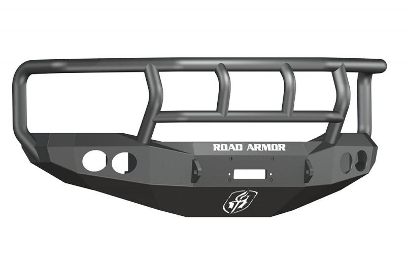 Road Armor Stealth Front Winch Bumper w/ Titan II Guard - Texture Black   WARN M12000/Smittybilt XRC (06-09 Ram 2500/3500)