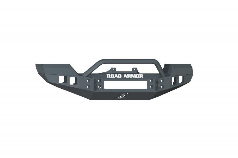 Road Armor Stealth Front Winch Bumper w/ Pre-Runner Guard - Texture Black   WARN PowerPlant (07-18 Jeep Wrangler JK/JKU)