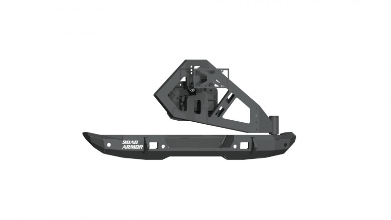 Road Armor Stealth Rear Bumper Mid Width w/ Tire Carrier Assembly - Texture Black (18-20 Jeep Wrangler JL)