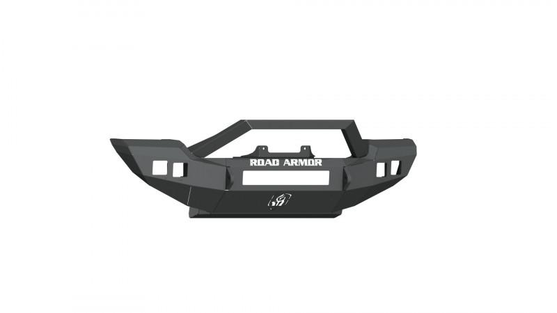 Road Armor Stealth Front Winch Bumper Sheetmetal Bar Guard Full Width - Texture Black | WARN PowerPlant (18-20 Jeep Wrangler JL)