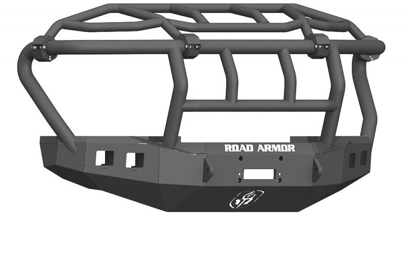 Road Armor Stealth Front Winch Bumper w/ Intimidator Guard - Texture Black   WARN 16.5ti (17-20 Ford F-250/F-350)