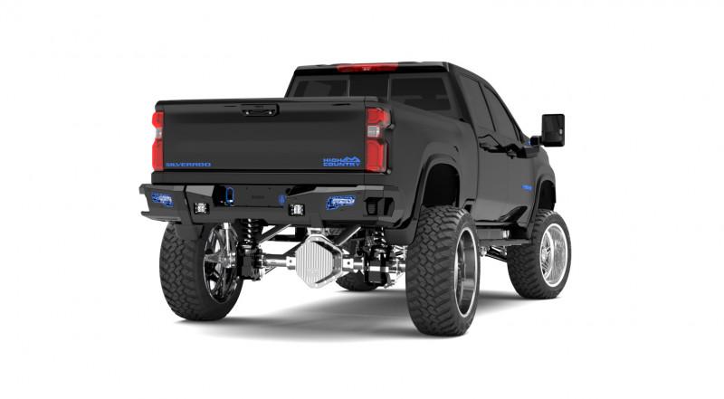 Road Armor iDentity Rear Bumper (20+ Chevy/GMC 2500/3500)   Raw Steel/No Shackles End Pods/Dual Pod & Single Row Light Pods /Mesh iDentity Pattern/HDWR Kit