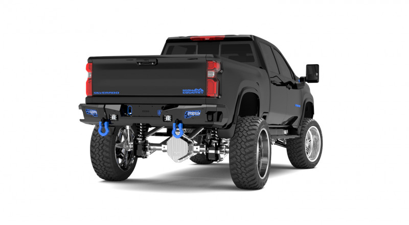Road Armor iDentity Rear Bumper (20+ Chevy/GMC 2500/3500) | Raw Steel/Shackles End Pods/Dual Pod & Single Row Light Pods/Mesh iDentity Pattern/HDWR Kit