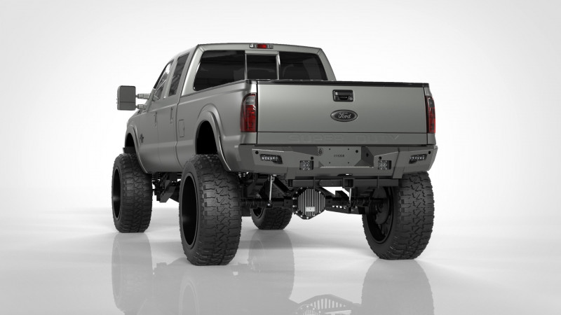 Road Armor iDentity Rear Bumper (11-16 Ford F-250/F-350) | Raw Steel/Non-Shackle End Pods/Mesh Hyve Pattern/AccentLights