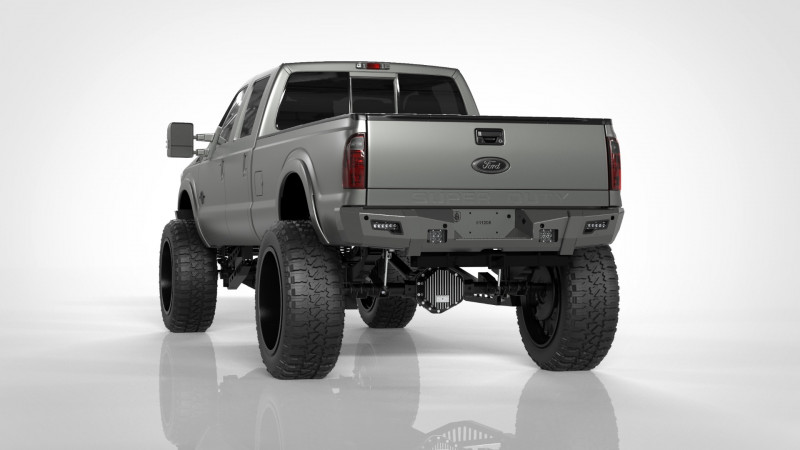 Road Armor iDentity Rear Bumper (11-16 Ford F-250/F-350)   Raw Steel/Non-Shackle End Pods/Beauty Ring/AccentLights