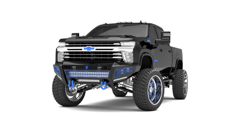 Road Armor iDentity Front Bumper (20+ Chevy 2500/3500) | Raw Steel/Shackles/Double Cube Light Pods/Mesh Hyve Pattern/HDWR Kit