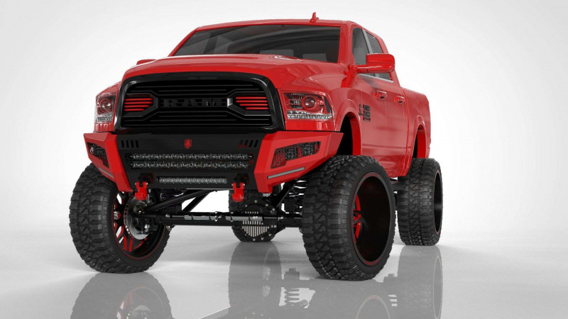 Road Armor iDentity Front Bumper (16-18 Ram 2500/3500)   Raw Steel/Shackles/Standard End Pods/Double Cube Light Pods/Accent Lights/Mesh iDentity Pattern