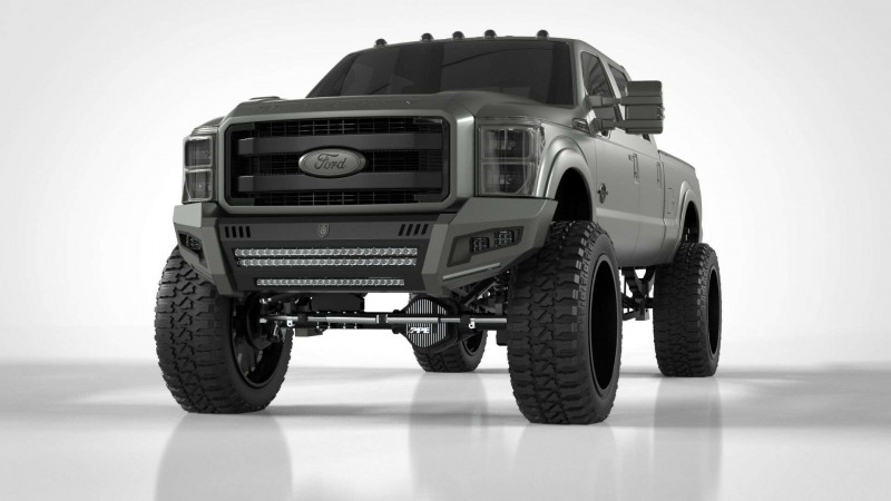 Road Armor iDentity Front Bumper (11-16 Ford F-250/F-350) | Raw Steel/No Shackles/Standard End Pods/Double Cube Light Pods/Accent Lights/Beauty Ring