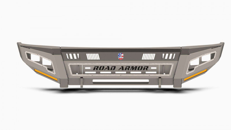Road Armor iDentity Front Bumper (17-20 Ford F-250/F-350)   Raw Steel/Shackles/Standard End Pods/Double Cube Light Pods/Accent Lights/Beauty Ring