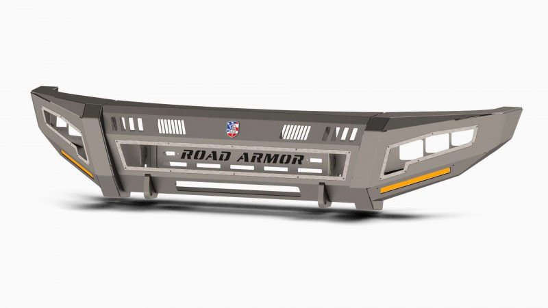 Road Armor iDentity Front Bumper (17-20 Ford F-250/F-350) | Raw Steel/Shackles/Wide End Pods/Triple Cube Light Pods/Accent Lights/Beauty Ring