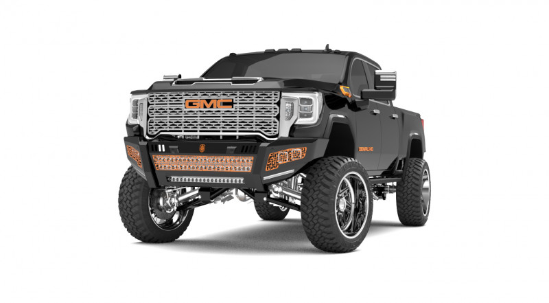 Road Armor iDentity Front Bumper (20+ GMC 2500/3500) | Raw Steel/No Shackles/Double Cube Light Pods/Mesh iDentity Pattern/HDWR Kit