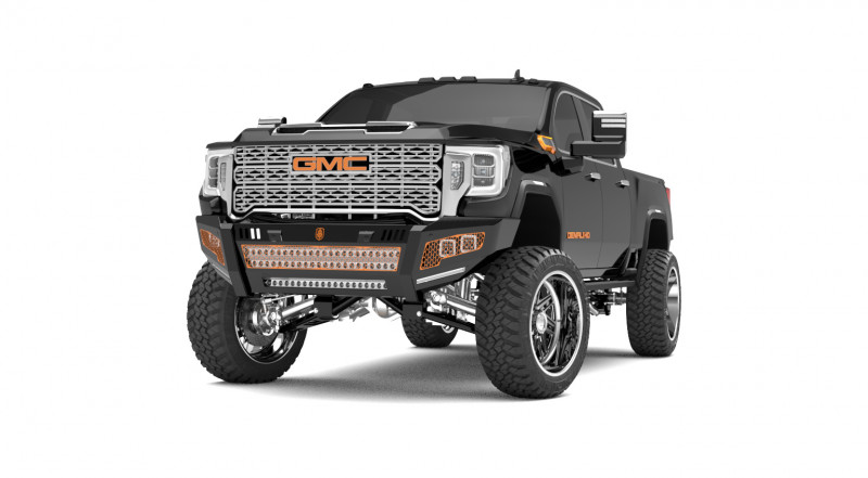 Road Armor iDentity Front Bumper (20+ GMC 2500/3500)   Raw Steel/No Shackles/Double Cube Light Pods/Mesh Hyve Pattern/HDWR Kit