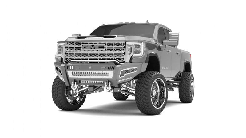 Road Armor iDentity Front Bumper (20+ GMC 2500/3500)   Raw Steel/Shackles/Double Cube Light Pods/Beauty Ring/HDWR Kit